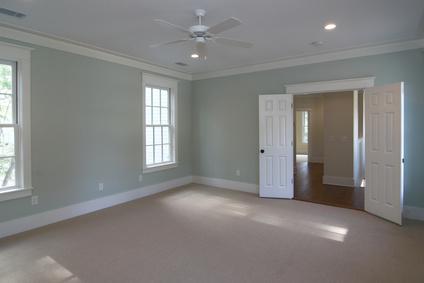 bedroom, bed, room, suite, double, door, house, home, remodel, architecture, upstairs, carpet, unfurnished, empty, open, large, recessed, light, wood, floor, casement, hung